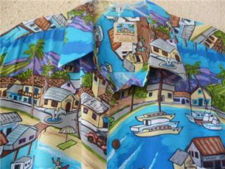 Vtg Hawaiian Shirt Kahala Don Anderson Island Village Rayon XXL 2XL