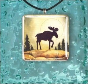 Moose American Folk Art Glass Pendant Necklace