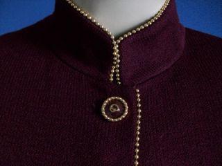 St John Santana Knit Burgandy with Gold Bead Trim Logo Buttons Jacket