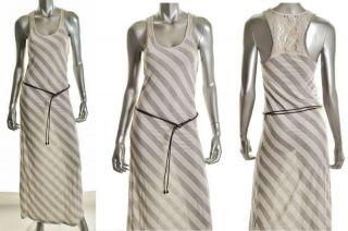 NWT American Rag GREY STRIPE DRESS Lace Racerback MAXI Striped White