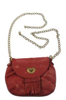 American Rag Red Metallic Twist Front Flap Shoulder Handbag Small BHFO