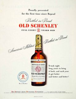 Schenley Straight Bourbon Whiskey Bottle Bond New York Alcohol Drink