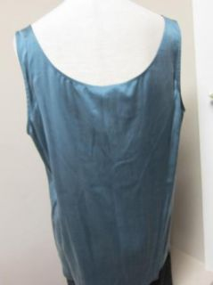 Eileen Fisher Stretch Silk Charmeuse V Neck Shell Tank Storm $148