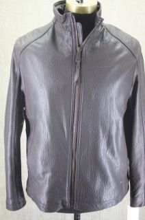 New Marc New York Andrew Marc Nelson Brown Leather Jacket Coat Size