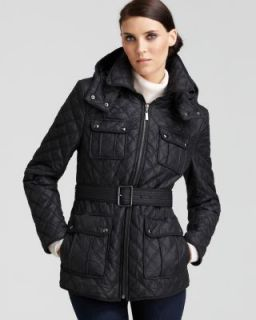 Andrew Marc New Black Belted Hooded 4 Pocket Quilted Coat Jacket XL