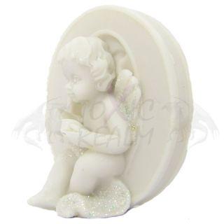 Cherub Angel Small White Wall Decor Cake Topper TR5556 Shelf Sitter