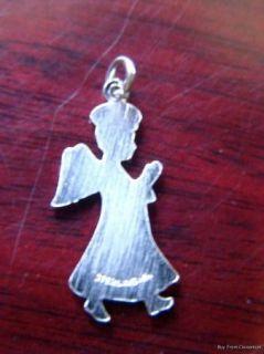 Sterling Silver Praying Angel Halo Wings Charm Enamel Stars ~ Bracelet
