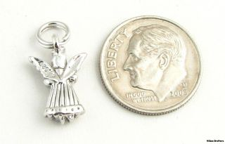 Guardian Angel Charm Sterling Silver 3D Fashion Pendant Religious