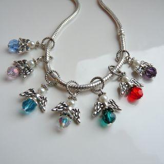 Crystal Guardian Angel Wings Charm Bead for Fits European Bracelet or