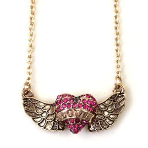 Vintage Retro Angel Wings Love Wings Inlay Crystal Pendant Necklace
