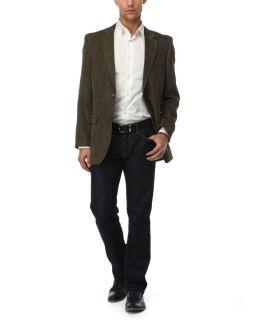 Andrew Fezza Men Olive Button Down Twill Jacket