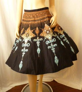 Womens Ethnic Skirt by Angie Made in India Full Circle Party Vtg
