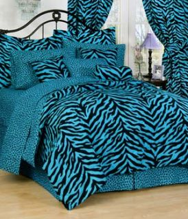 piece luxury blue zebra print comforter set queen this eight piece