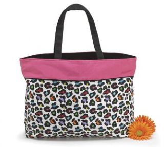 Sassy Pink Multi Color Leopard Print Tote Beach Bag