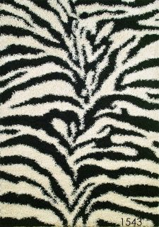 Area Rug Black and White Shag Zebra Animal Print Rug