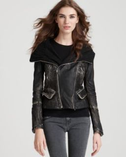 Andrew Marc New Cody Black Leather Asymmetric Zip Front Motorcycle