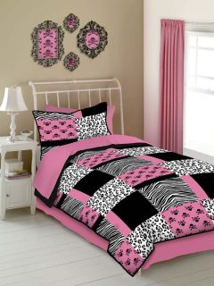 Pink Animal Print Zebra Leopard Skulls Full Comforter Set