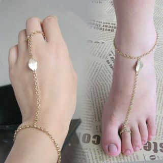 Gold Tone Leaf Toe Ring Ankle Chain Linked Bracelet VBV Girls