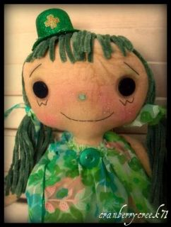 Primitive Raggedy Ann Doll St Patricks Day Green Gold Coin Retro OOAK