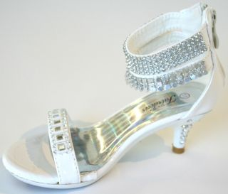 Girls White Anklets Formal Dress Pageant Heels Sizes 9 10 11 12 13 1 2