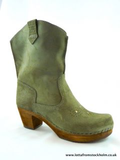 Sanita Lee Ann Cowboy Style Clog Boots in Grey Green