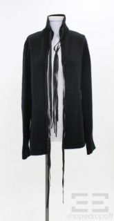 Ann DEMEULEMEESTER Black Wool Knit Leather Tie Front Sweater Size 42
