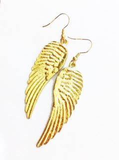 brand new gold angel wings earrings size 2 3 inches excluding hooks