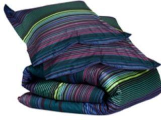IKEA Andrea Satin King Size Duvet Cover Purple Blue Stripes NIP Retro