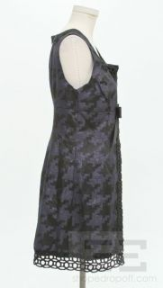 Anna Sui for Target Navy Blue Shimmer & Black Bow V Neck Dress Size 11