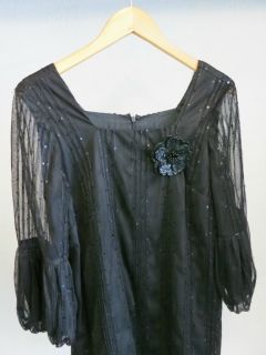 ANNA SUI Black Sequin Mini Dress w/ Flower Brooch & Sheer Sleeves sz
