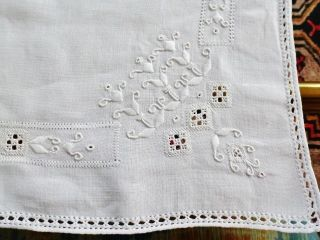 Antique Italian Linen Embroidered Buffet Scarf Table Runner Punto