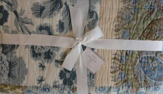 Pottery Barn Anna Maria Patchwork Quilt Floral Paisley Blue Green