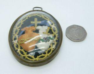 Unusual Unique Antique Victorian Mourning Pendant Padded Gold Thread