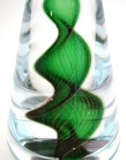 Murano Art Glass Vintage Christmas Tree Green Gold Swirl