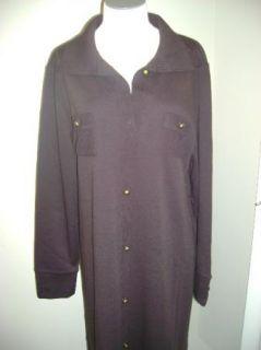 Nina Leonard Button Front Shirt Dress w Pocket Detail S