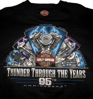 HARLEY DAVIDSON 95th Anniversary Sweatshirt XL) USA MADE Thunder Thru