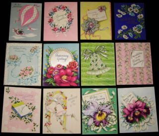 12 Vintage Anniversary Greeting Cards Unused 1940s 1950