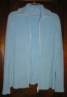 Ann Taylor Loft Blue Zip Front Cardigan Sweater Sz M L