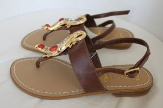 Miss Trish Capri Target Brown Lizard Thong Sandals