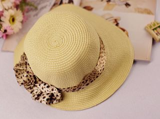 Leopard Print Hatband Beach Summer Fedora Trilby Crusher Sun Cap Hat