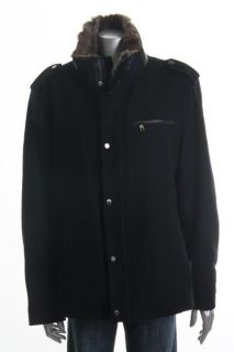 Andrew Marc New Black Wool Long Sleeve Lined Zip Snap Front Fur Trim