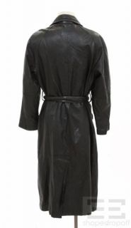 Marc by Andrew Marc Mens Black Leather Belted Trench Coat Size M