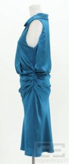 Anna Molinari Blue Crepe Silk Drape Cowl Neck Sleeveless Dress Size 44
