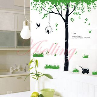 Love Green Tree Grass Bird DIY Removabl Art Vinyl Wall Sticker Decor