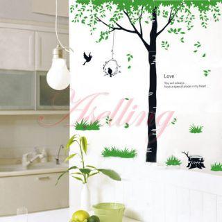 Love Green Tree Grass Bird DIY Removabl Art Vinyl Wall Sticker Decor