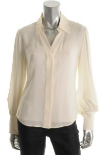 Anne Klein New Ivory Silk Long Sleeve Button Front Blouse Top 2 BHFO