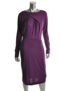 Anne Klein Purple Ruched Long Sleeves Knee Length Wear to Work Dress M