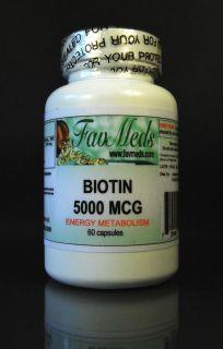 Biotin 5000 mcg High Quality Antioxidant Vitamin A Made in USA 60