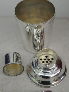Vintage Silver Plate Cocktail Shaker Bar Tools Accessories Drinks