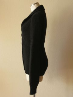 Anthropologie Antik Batik Black Alpaca Wool Shawl Collar Cardigan